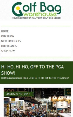 GolfBagWarehouse.com Blog Homepage iPhone-SmartPhone