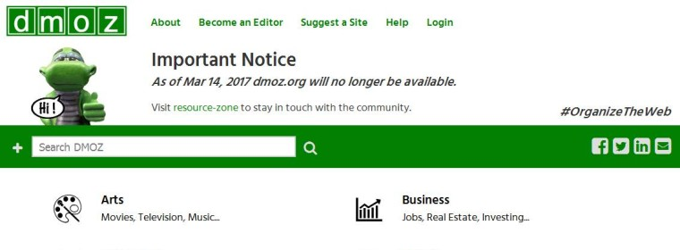 DMOZ Is Shutting Down On March 14 2017