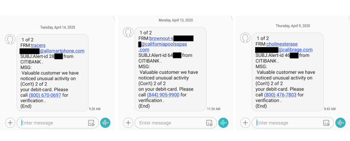 Citibank and Other Bank Scam Text Messages
