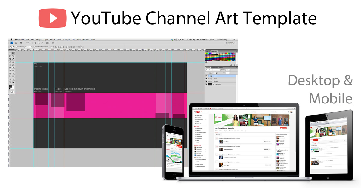 Youtube Channel Art Photoshop Template - Image Size 2560 X 1440