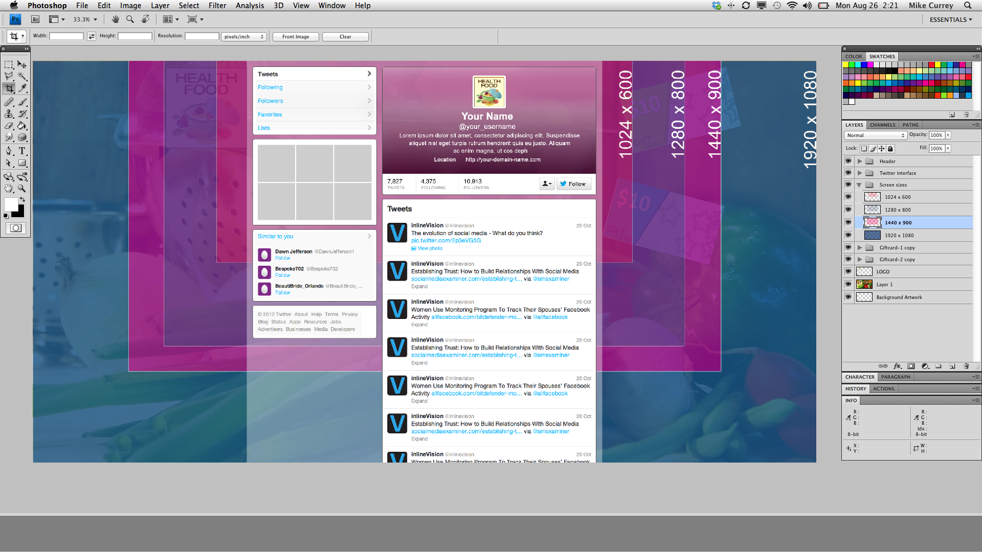 Background image dimensions - Twitter Template Demo Screenshot