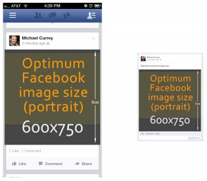 size difference Facebook desktop mobile Timeline