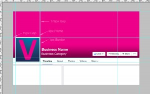 Facebook Business Page Template Preview with Dimensions