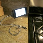iPhone stand in the kitchen - landscape