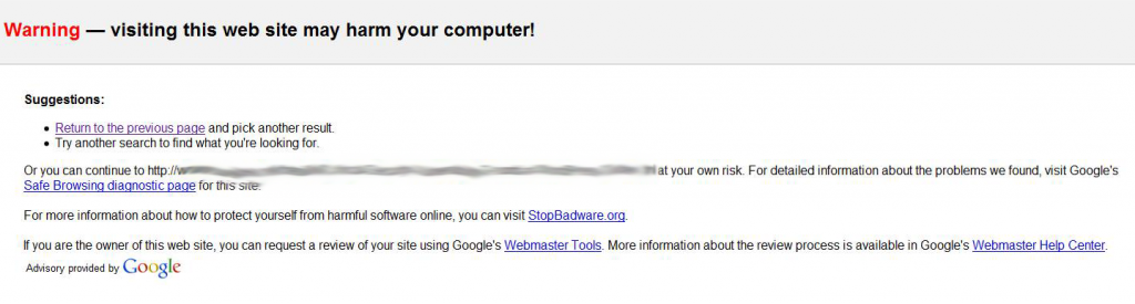 Malware Warning Google