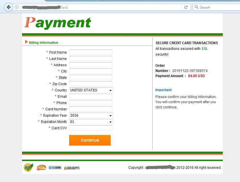 Unsecured Credit Card Payment Page