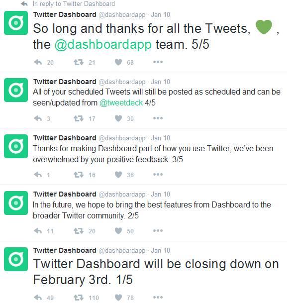 Twitter Dashboard Tweets
