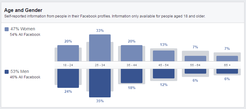 Screenshot Facebook Audience Demographcs
