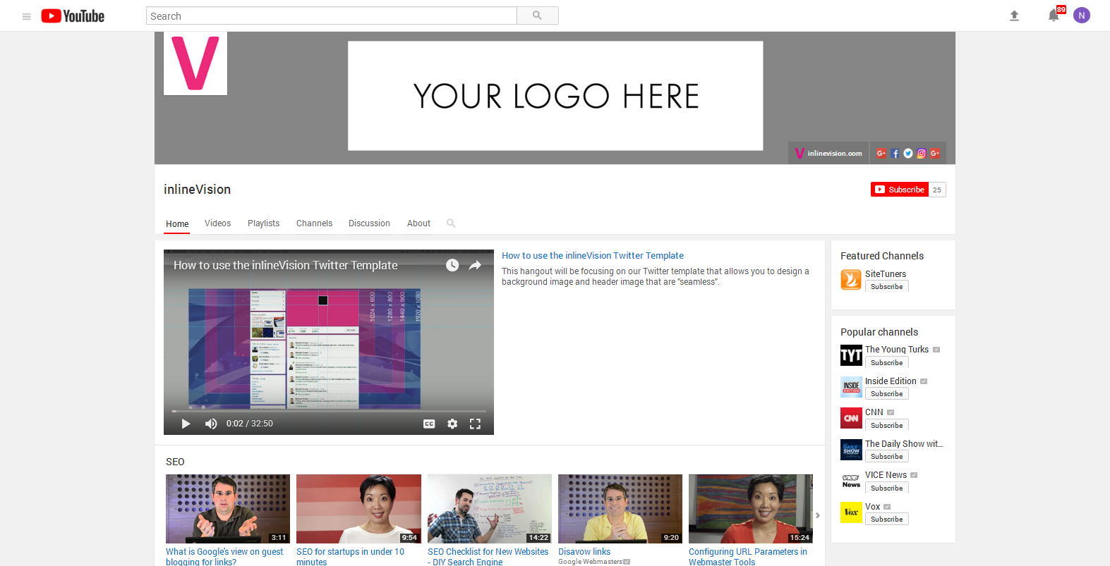 Youtube Channel Art Size 2120x1152 Inlinevision Web Design E