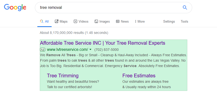 Google Ads Tree Removal
