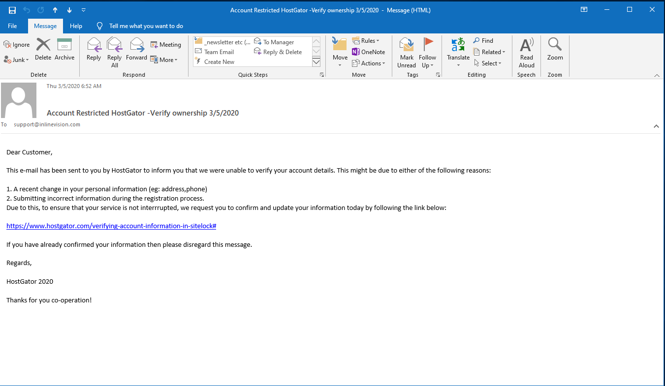 Hostgator fake email